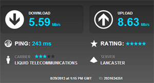 Speedtest results to a server in the UK