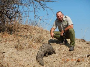"""Sport Beattie, the CEO of Game Rangers International (GRI). Beattie lives and works at Kafue National Park in Zambia, where the """"release"""" site for the older orphans is located"""