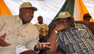 The Minister of Environment, Water and Climate, Cde Saviour Kasukuwere, speaks to the Minister of Home Affairs, Cde Kembo Mohadi, at the commemoration of World Rhino Day at the Centenary Park, Bulawayo