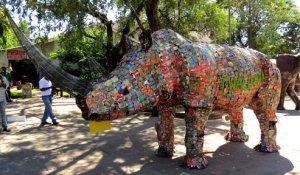 Twalumba the Rhino made of Tin Cans