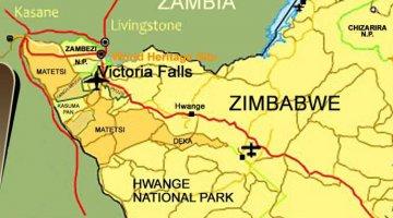 Victoria Falls location