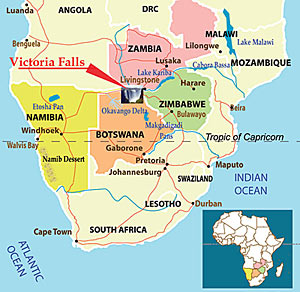 Victoria Falls location in Africa