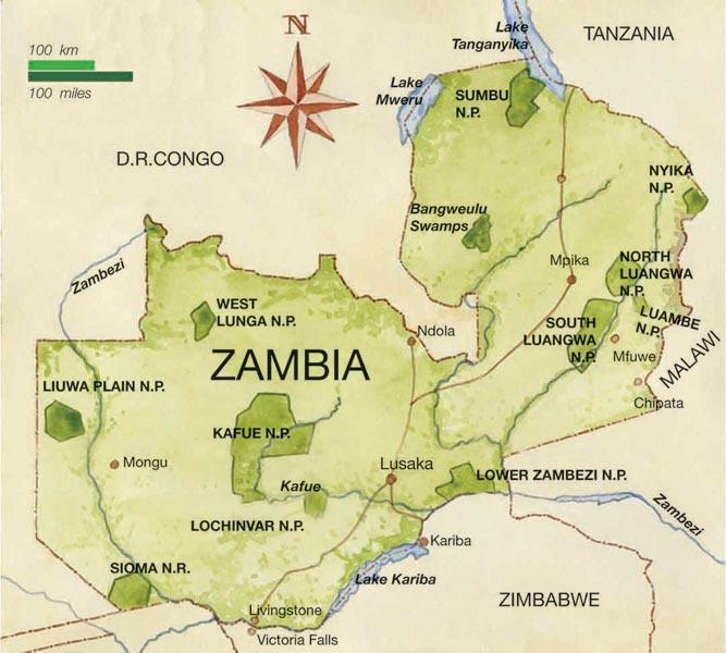 Zambezi River On Map Of Africa.Zambia Map Victoriafalls24