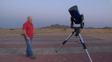 Astronomer Rob Johnstone uses his spare time to stargaze from a landing strip in the desert.