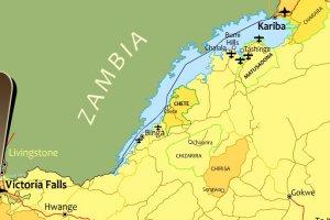 Lake Kariba lies on the Zambezi River downstream from Victoria Falls, bordering Zambia and Zimbabwe