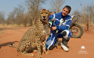 David Reeves, Dakar Rally participant with Sylvester the cheetah
