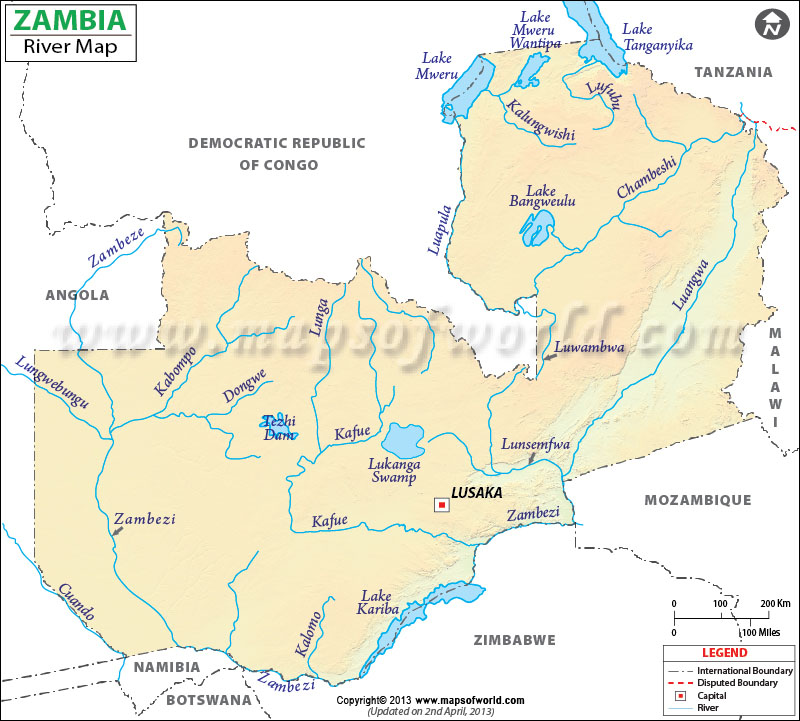 Zambia Rivers and Lakes