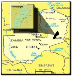 Zambia with Chipata located in the Eastern Province and Mfuwe in the South Luangwa National Park
