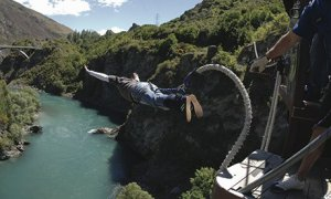 Bungee jumping off Kawarau Bridge, Queenstown, New Zealand, launch pad of the world's first commercial leap. Photograph: AJ Hac