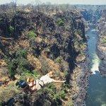Bungy jumping off the bridge at Victoria Falls