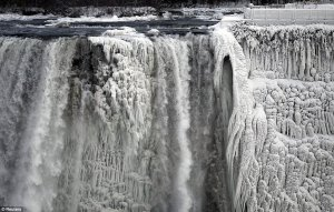 A collection of spectacular photographs have shown the moment the U.S. side of the famous falls froze before they could reach the bottom