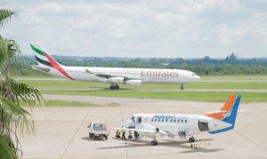 Emirates and Proflight Zambia aircraft at Kenneth Kaunda International Airport Lusaka - MR