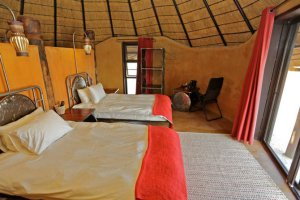 The rooms are appointed with furniture made from recycled materials.
