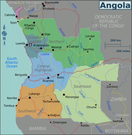Angola The Geography VictoriaFalls - Angola road map