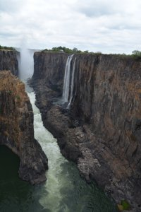 Part of Victoria Falls all dried up. The whole rock face on the right is completely covered by a curtain of water during the high season and it is impossible to see the bottom.