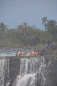 Crazy people hang out in the Devil's Pool at Victoria Falls.