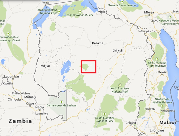 Map of Zambia showing the location of the Chambeshi River
