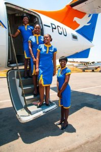 Proflight Zambia staff prepare to welcome passengers on board