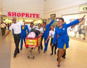 Proflight Zambia and Shoprite staff celebrate their ticket sale