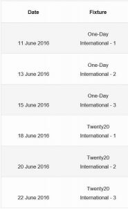 Indian Cricket schedule 2016 2