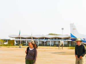 Tourists on the tarmac at Mfuwe Airport.